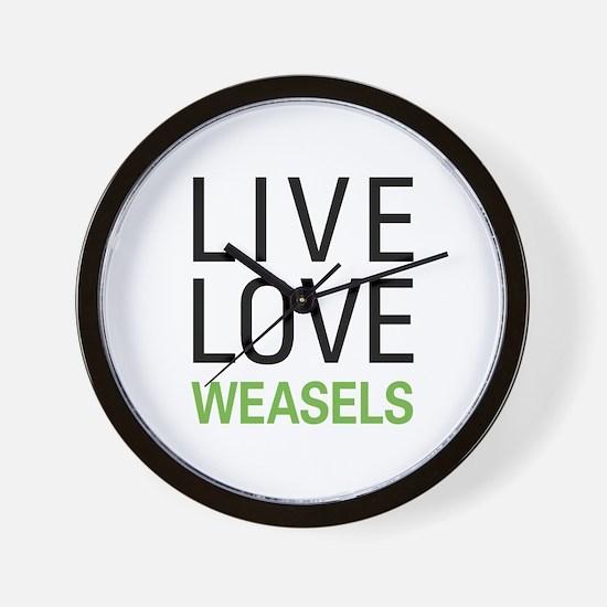 Live Love Weasels Wall Clock