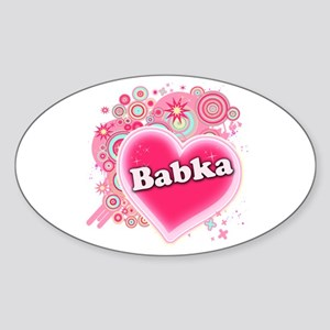 Babka Heart Art Sticker (Oval)