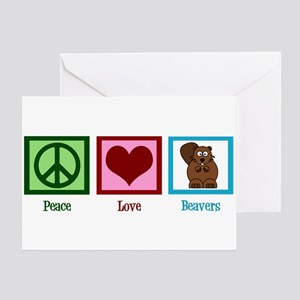 Peace Love Beavers Greeting Card