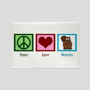 Peace Love Beavers Rectangle Magnet