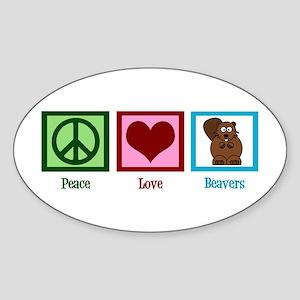 Peace Love Beavers Sticker (Oval)