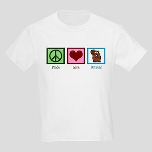 Peace Love Beavers Kids Light T-Shirt