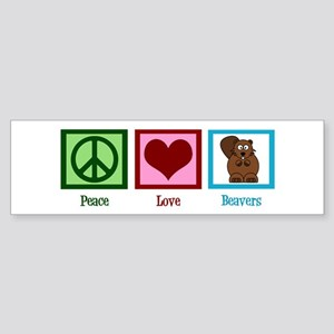 Peace Love Beavers Sticker (Bumper)