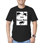 I Love Rescue Mutts Men's Fitted T-Shirt (dark)