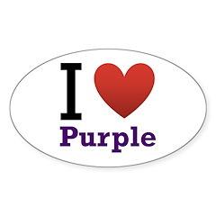I Love Purple Sticker (Oval)