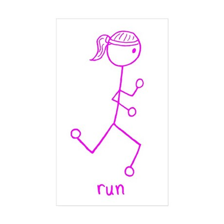 Pink Running Girl w/ Words Sticker (Rectangle 10 p