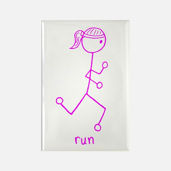 Pink Running Girl w/ Words Rectangle Magnet