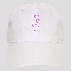 Pink Running Girl w/ Words Cap