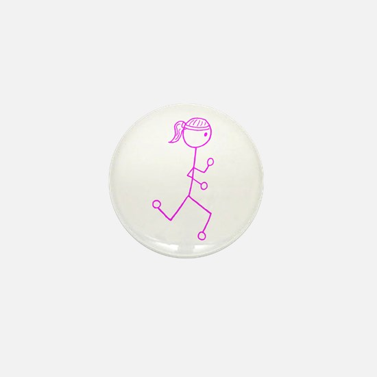 Pink Run. Girl No Words Mini Button