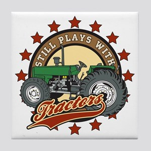 Still Plays with Tractors Green Tile Coaster