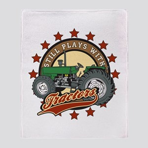 Still Plays with Tractors Green Throw Blanket