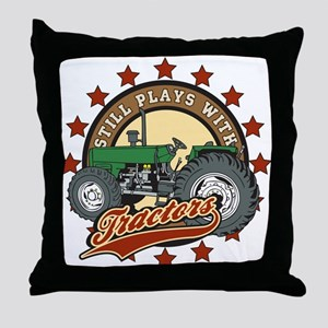 Still Plays with Tractors Green Throw Pillow