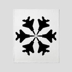F-15 Aviation Snowflake Throw Blanket