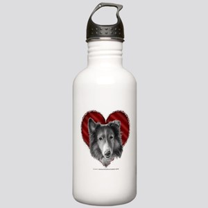 Rough Collie Valentine Stainless Water Bottle 1.0L