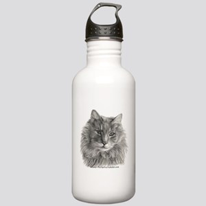 TG, Long-Haired Gray Cat Stainless Water Bottle 1.