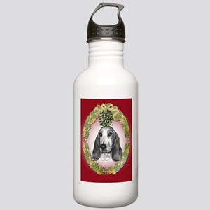 Bassett Hound Mistletoe Stainless Water Bottle 1.0