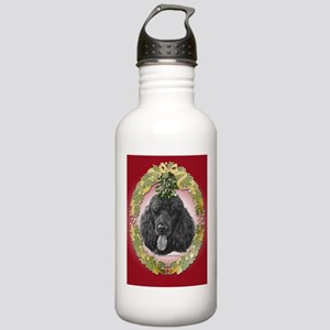 Black Poodle Christmas Stainless Water Bottle 1.0L