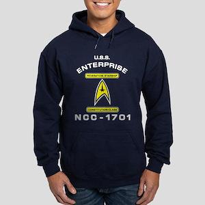Star Trek NCC-1701 white Hoodie (dark)