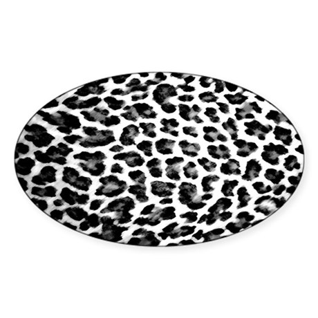 Black & White Leopard Print Sticker (Oval)