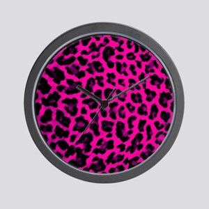 Hot Pink Leopard Print Wall Clock
