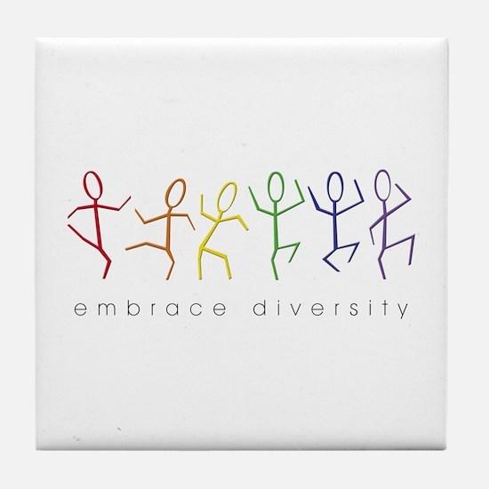 dancing rainbow Tile Coaster