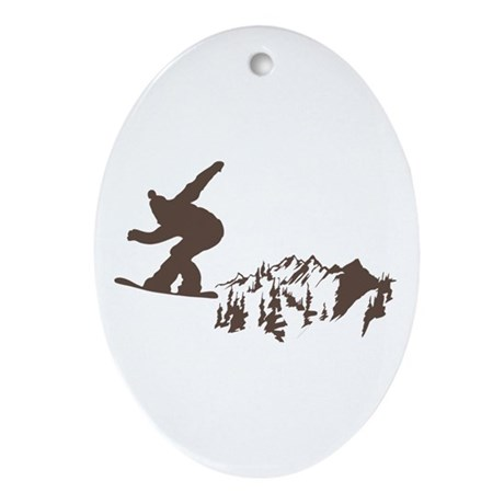 Snowboarding Ornament (Oval)