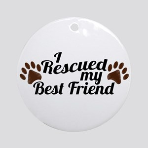 Rescued Dog Best Friend Ornament (Round)