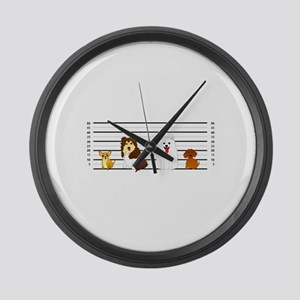 Doggie Lineup Large Wall Clock