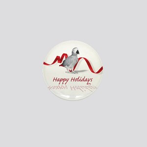 african grey parrot holiday Mini Button