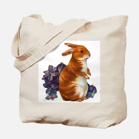 Sitting Rabbit with Flowers Tote Bag