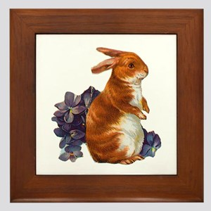 Sitting Rabbit with Flowers Framed Tile