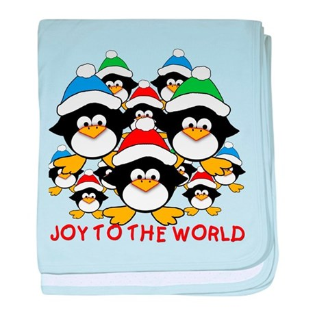 Joy to the World Penguins baby blanket