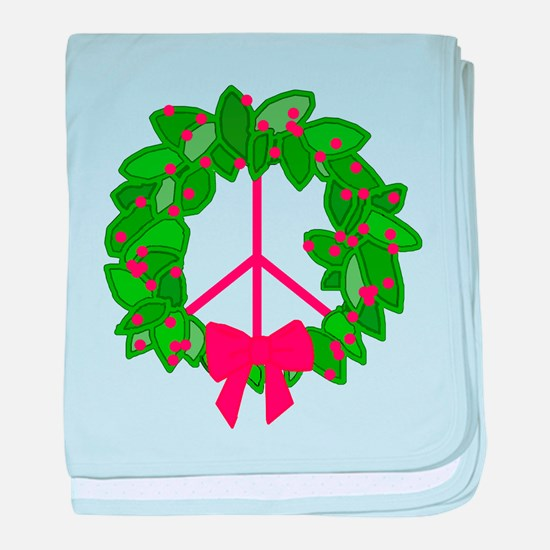 Holly Wreath Peace Sign baby blanket
