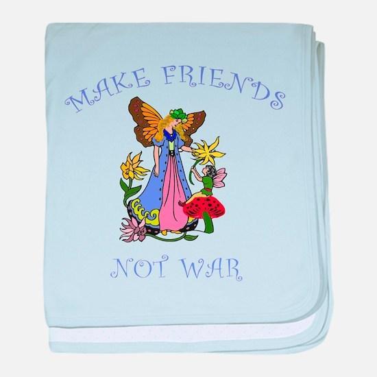 Make Friends Not War baby blanket