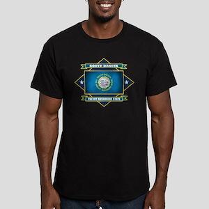 South Dakota Flag Men's Fitted T-Shirt (dark)