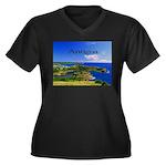 Antigua Women's Plus Size V-Neck Dark T-Shirt