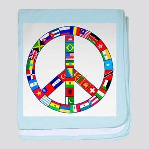 Peace Sign Made of Flags baby blanket