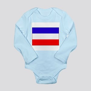 Serbia-Montenegro flag Long Sleeve Infant Bodysuit