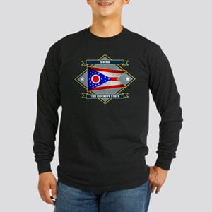 Ohio Flag Long Sleeve Dark T-Shirt