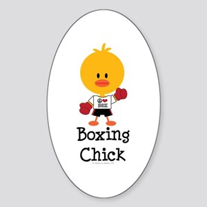 Boxing Chick Sticker (Oval)