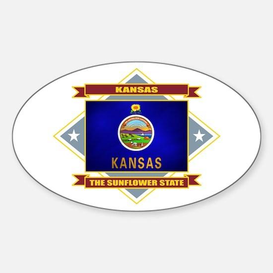 Kansas Flag Sticker (Oval)