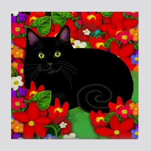 BLACK CAT GARDEN Tile Coaster