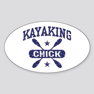 Kayaking Chick Sticker (Oval)