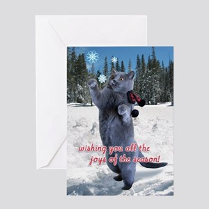 Cat catching snowflakes card Greeting Card
