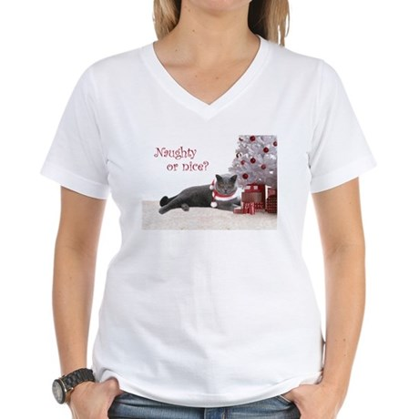 Cat Under Christmas Tree Women's V-Neck T-Shirt