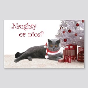 Cat Under Christmas Tree Sticker (Rectangle)
