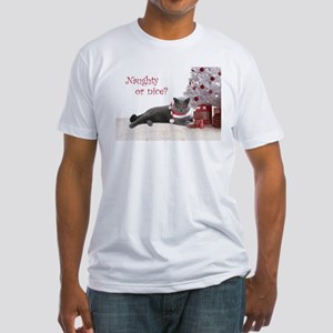 Cat Under Christmas Tree Fitted T-Shirt