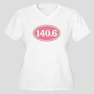 140.6 Pink Triathlon Oval Women's Plus Size V-Neck