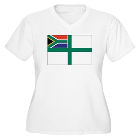 South Africa Naval Ensign Women's Plus Size V-Neck