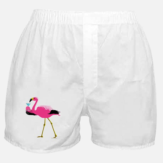 Pink Flamingo Drinking A Martini Boxer Shorts